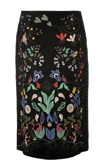 Кожаная юбка-миди с разноцветными нашивками Valentino