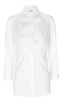Удлиненная блуза с воротником-стойкой и манишкой Armani Collezioni