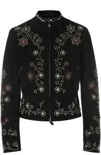 Кожаная куртка на молнии с декоративной отделкой камнями Valentino