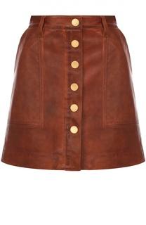 Кожаная мини-юбка с контрастными пуговицами и карманами MICHAEL Michael Kors