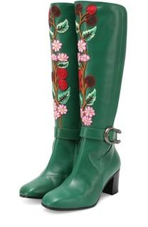 Кожаные сапоги Dionysus с цветочной аппликацией Gucci