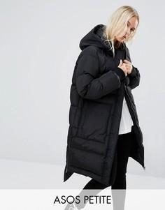 Стеганое пальто со ступенчатым краем ASOS PETITE - Черный
