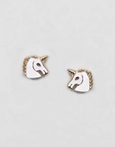 Серьги-гвоздики с единорогом ASOS - Золотой