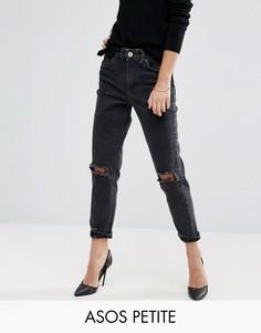 Черные узкие джинсы в винтажном стиле с рваной отделкой ASOS PETITE Farleigh - Черный