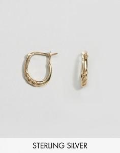 Винтажные серьги-кольца из позолоченного серебра с крученой отделкой ASOS - Золотой