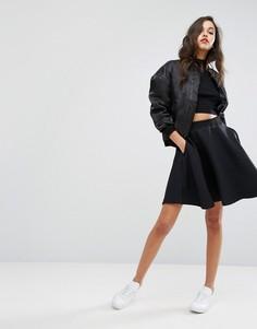 Расклешенная юбка с вафельным рисунком adidas Originals - Черный