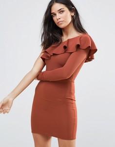 Платье мини в рубчик с открытым плечом и оборкой Oh My Love Jumbo - Красный