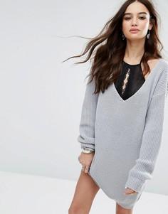 Платье-джемпер мини с V-образным вырезом Boohoo - Серый