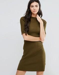 Платье-футляр с высокой горловиной First & I - Зеленый