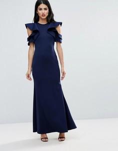 Платье макси с рукавами-оборками и юбкой-годе Club L - Серый