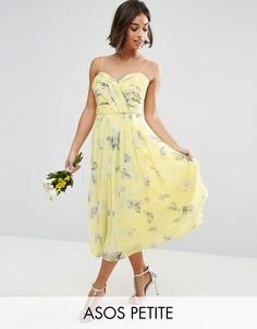 Платье миди со складками и цветочным принтом ASOS PETITE WEDDING - Желтый