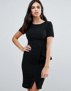 Платье-футляр с короткими рукавами и оборкой сбоку Zibi London - Черный