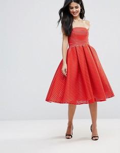 Приталенное платье миди без бретелек Forever Unique - Красный