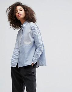 Полосатая рубашка со вставками Monki - Белый