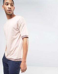 Oversize-футболка с круглым вырезом и контрастными краями ASOS - Розовый