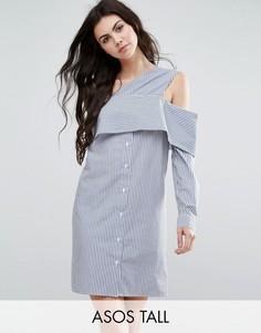 Платье-рубашка из хлопковой смеси в полоску с открытыми плечами ASOS TALL - Мульти