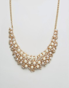 Ожерелье с искусственным жемчугом Ruby Rocks - Золотой