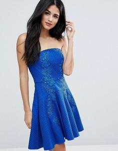 Платье-бандо мини с кружевом Forever Unique - Синий