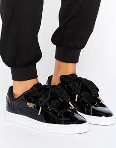 Черные лакированные кроссовки Puma Basket Heart - Черный