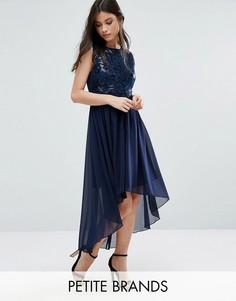 Удлиненное сзади декорированное платье Yumi Petite - Темно-синий