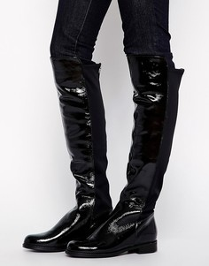 Черные лакированные ботфорты с эластичной вставкой ALDO Dyanna - Черный