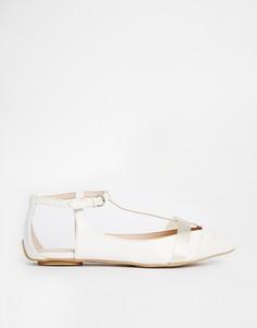 Туфли на плоской подошве с острым носом и ремешком Paper Dolls - Белый