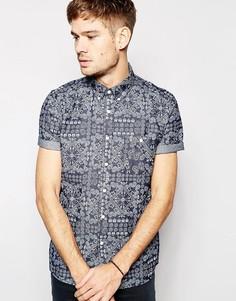 Джинсовая рубашка с короткими рукавами и принтом ASOS - Синий