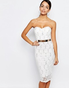 Кружевное облегающее платье‑бандо с поясом New Look - Белый