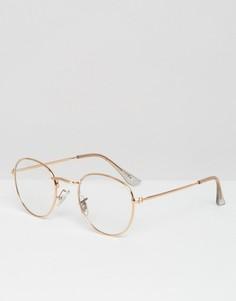 Очки в стиле гик в круглой металлической оправе с прозрачными стеклами ASOS - Золотой