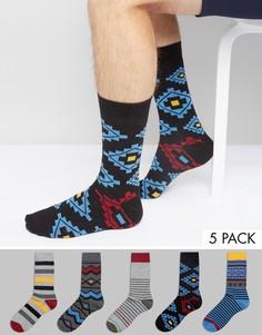 Набор из 5 пар носков в полоску и с принтом Urban Eccentric - Мульти