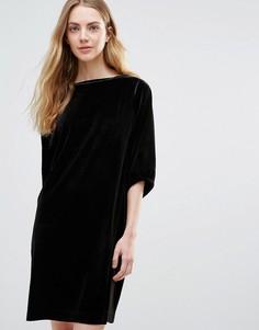 Велюровое цельнокройное платье Ganni Campbell - Черный