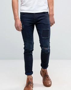 Темно-синие джинсы скинни с заплатками ASOS - Синий