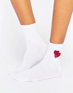 Носки с вышивкой сердец ASOS Valentines - Серый