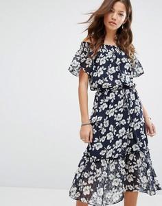 Платье миди с открытыми плечами Moon River - Темно-синий