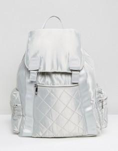 Большой атласный рюкзак с карманами на молнии ASOS LIFESTYLE - Серый