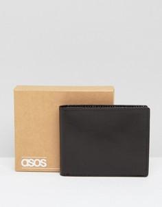 Кожаный кошелек с контрастной замшевой подкладкой ASOS - Черный