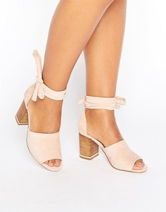 Босоножки на каблуке с завязкой вокруг ноги ASOS TAKE CHARGE - Розовый