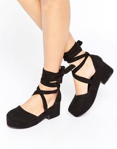 Туфли на массивной подошве с завязкой ASOS OBLIVIAN - Черный