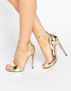 Золотистые сандалии на каблуке с ремешком через щиколотку Lost Ink Raula - Золотой