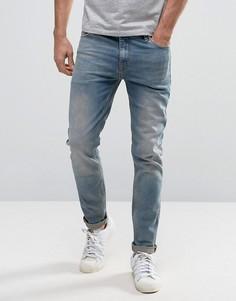 Выбеленные голубые джинсы скинни ASOS - Синий
