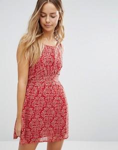 Короткое приталенное платье с принтом Jasmine - Красный