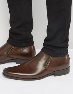 Коричневые ботинки челси из искусственной кожи с молниями ASOS - Коричневый