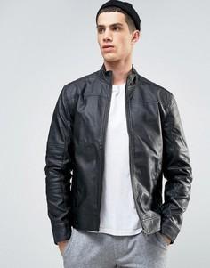 Байкерская куртка из искусственной кожи Solid - Черный