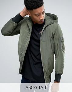 Куртка-пилот цвета хаки с капюшоном и карманами ASOS TALL MA1 - Зеленый