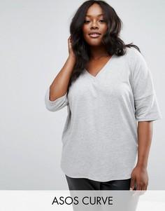 Oversize-футболка в рубчик с асимметричной кромкой ASOS CURVE - Серый