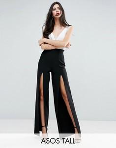 Широкие брюки с разрезами и завышенной талией ASOS TALL - Черный