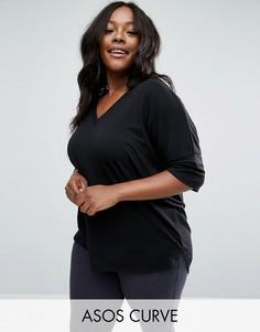 Oversize-футболка в рубчик с асимметричной кромкой ASOS CURVE - Черный