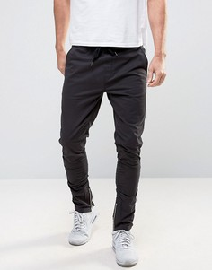 Зауженные брюки чиносы с молниями Brave Soul - Черный