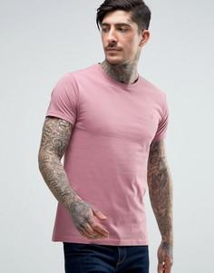 Розовая узкая футболка с логотипом Farah Farris - Розовый