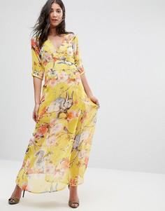 Платье макси с цветочным принтом Traffic People - Желтый